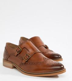 Светло-коричневые кожаные монки с натуральной подошвой ASOS DESIGN - Рыжий
