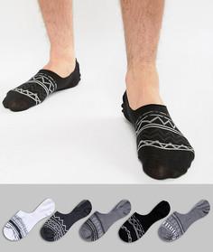 5 пар невидимых носков с ацтекским узором ASOS - Мульти