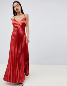 Плиссированное атласное платье макси на бретелях ASOS DESIGN - Оранжевый