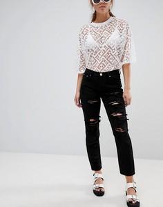 Рваные джинсы бойфренда Glamorous - Черный