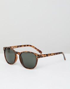 Квадратные солнцезащитные очки в стиле ретро с прозрачной оправой AJ Morgan - Коричневый