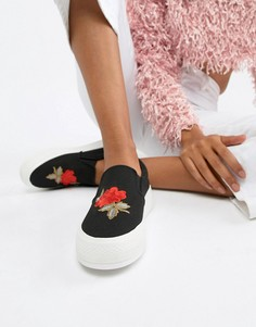 Туфли-слипоны с вышивкой роз Glamorous - Черный