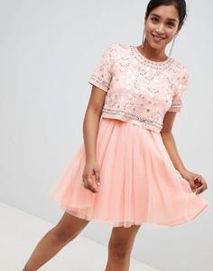 Декорированное платье мини из тюля с кроп-топом ASOS DESIGN - Розовый