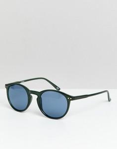 Зеленые круглые солнцезащитные очки с синими стеклами ASOS DESIGN - Зеленый
