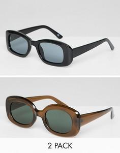 2 квадратных солнцезащитных очков в стиле 90-х (черные/коричневые) ASOS DESIGN - Мульти