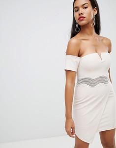 Асимметричное платье мини с широким вырезом Rare - Кремовый