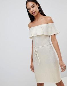 Платье миди металлик с оборкой Rare - Кремовый