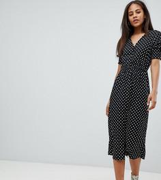 32d24433c23e986 Платье миди в горошек со сборками на рукавах Influence Tall - Черный