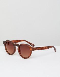 Круглые солнцезащитные очки с имитацией дерева Jeepers Peepes - Коричневый