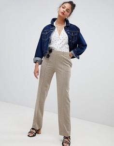 Зауженные брюки в клетку в винтажном стиле Nobodys Child - Кремовый