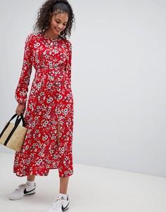 Платье макси с цветочным узором и присборенной талией Nobodys Child - Красный