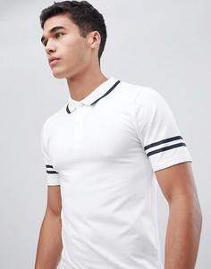 Обтягивающая футболка-поло с полосками Only & Sons - Белый