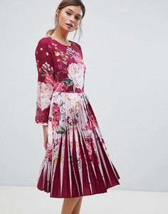 Платье миди с плиссировкой и цветочным принтом Ted Baker - Фиолетовый