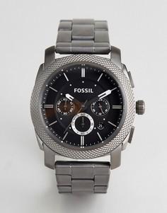 Часы из нержавеющей стали с черным циферблатом и хронографом Fossil - Черный