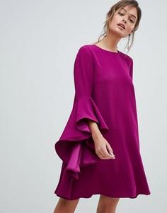 Платье мини с каскадными рукавами Ted Baker - Фиолетовый