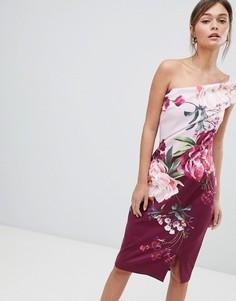Платье-футляр на одно плечо с цветочным принтом Ted Baker - Мульти
