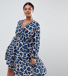 Платье с длинными рукавами и леопардовым принтом John Zack Plus - Мульти