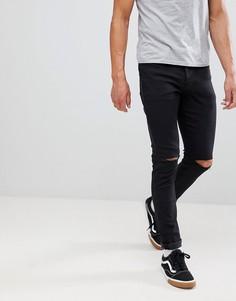 Черные свободные джинсы скинни с рваной отделкой Mennace Makavelli - Черный