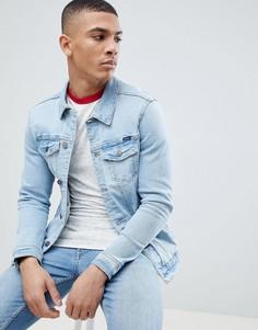 Голубая джинсовая куртка Pull&Bear - Синий