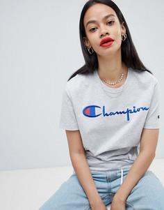 Свободная футболка с логотипом Champion - Серый
