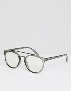 Круглые очки с серой оправой ASOS DESIGN - Серый