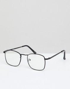 Квадратные очки в черной оправе с прозрачными стеклами ASOS DESIGN - Черный