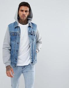 Синяя джинсовая куртка с трикотажными рукавами и капюшоном Pull&Bear - Синий