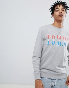 Серый меланжевый свитшот с круглым вырезом и логотипом Tommy Jeans Capsule essential - Серый