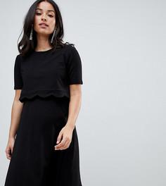 Платье с короткими рукавами и фигурной отделкой ASOS DESIGN Maternity - Черный