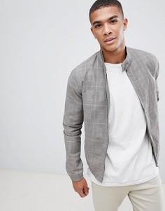 Серая куртка Харрингтон в клетку New Look - Серый