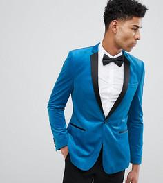 Ярко-синий приталенный бархатный блейзер ASOS DESIGN Tall - Синий