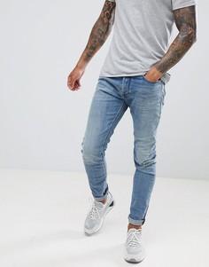 Рваные джинсы скинни Diesel Tepphar 084VI - Синий