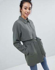 Пальто на пуговицах Monki - Зеленый