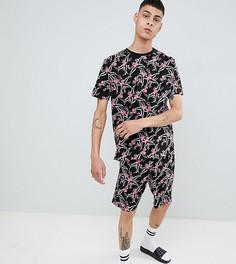Пижама с шортами и цветочным принтом ASOS DESIGN - Черный