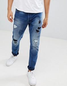 Рваные джинсы скинни Diesel Tepphar 084TX - Синий