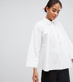 Блузка с присборенным вырезом ASOS WHITE Tall - Белый