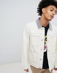Джинсовая куртка с вельветовым воротником ASOS DESIGN - Бежевый