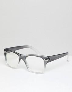 Квадратные очки в серой оправе с прозрачными стеклами ASOS DESIGN - Серый