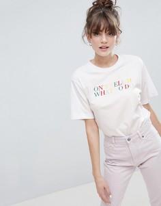 Белая oversize-футболка с круглым вырезом и надписью Monki - Белый
