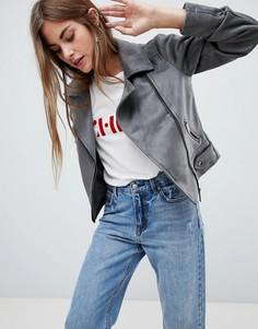 Байкерская куртка из искусственной замши New Look - Серый