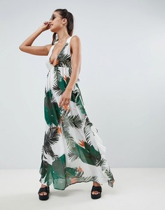 Пляжное платье макси с тропическим принтом и оборками ASOS DESIGN - Мульти