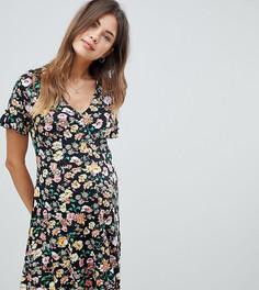 Чайное платье на пуговицах с цветочным принтом и оборками ASOS DESIGN Maternity - Мульти