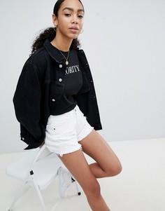 Джинсовые шорты с отделкой Noisy May - Белый