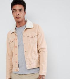 Светло-серая вельветовая куртка с искусственным мехом Brooklyn Supply Co - Бежевый