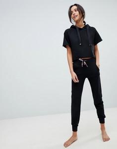 Пижама из укороченного худи и штанов в полоску Ann Summers Attitude - Черный
