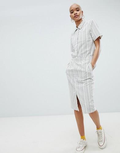 Комбинируемая вельветовая юбка-карандаш с повторяющимся принтом логотипа Stussy - Белый