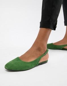 Замшевые туфли с острым носом и ремешком через пятку Vagabond Ayden - Зеленый