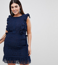 Кружевное платье-футляр Lovedrobe - Темно-синий
