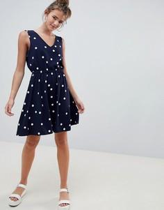 Короткое приталенное платье в горошек Only - Темно-синий