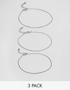 Набор из 3 браслетов-цепочек на ногу ASOS DESIGN - Серебряный